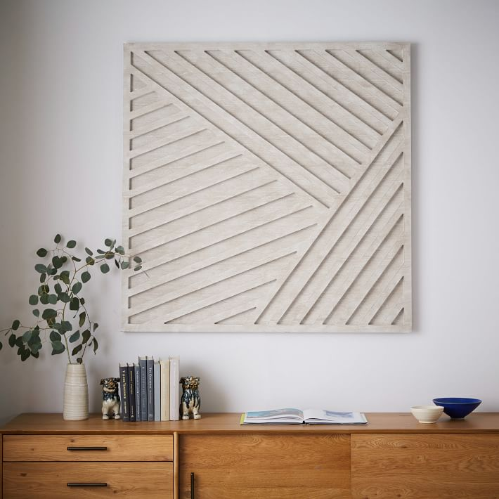 ... Whitewashed Wood Wall Art Overlapping Lines 1 O
